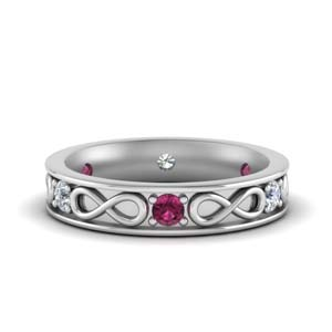 White Gold Pink Sapphire Band