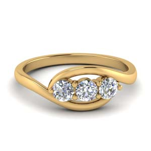 3 Stone Round Cut Crossover Ring
