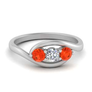 Orange Topaz Twisted Ring