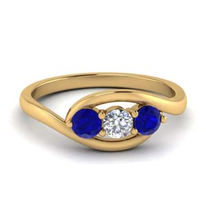 Crossover Blue Sapphire Ring