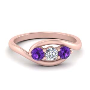 3 Diamond Ring With Purple Topaz