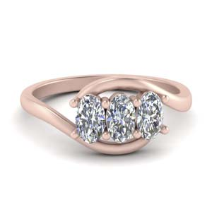 18K Rose Gold 3 Stone Crossover Ring