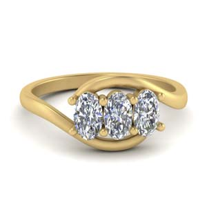 14K Yellow Gold Bypass 3 Stone Ring