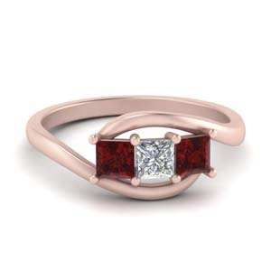 Interlocked Three Stone Ruby Ring