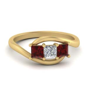 Twisted 3 Stone Ring With Ruby