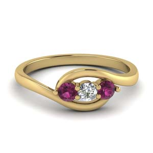 0.30 ct. crossover diamond 3 stone ring with pink sapphire in FD123446RORGSADRPI NL YG