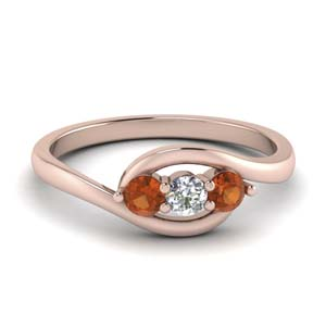 0.30 ct. crossover diamond 3 stone ring with orange sapphire in FD123446RORGSAOR NL RG