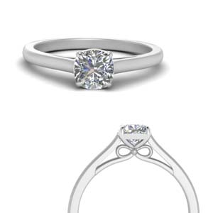 Bow Design Cushion Solitaire Ring