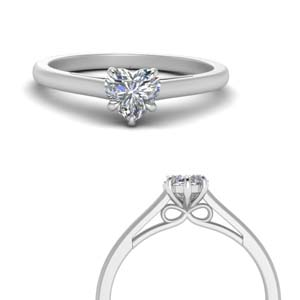 bow design heart shaped solitaire engagement ring in 14K white gold FD123453HTRANGLE3 NL WG