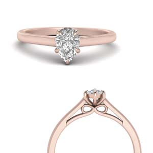 Rose Gold Bow Design Teardrop Ring