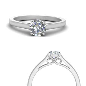 bow design round cut solitaire engagement ring in 14K white gold FD123453RORANGLE3 NL WG
