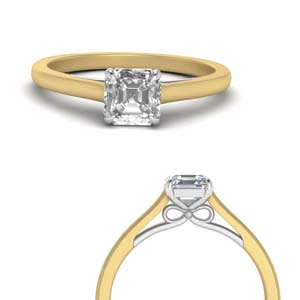 Asscher Cut Diamond 2 Tone Ring