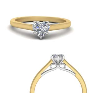 Moissanite 2 Tone Bow Solitaire Ring