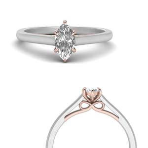 Platinum 2 Tone Marquise Cut Ring