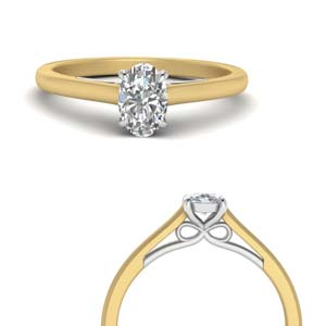 Bow Style Single Oval Diamond Ring