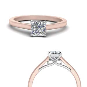 2 Tone Princess Cut Solitaire Ring