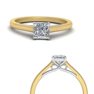 Two Tone Solitaire Bow Ring