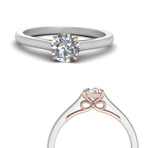 2 Tone Round Diamond Bow Ring