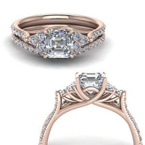Petite Cathedral Lab Diamond Ring Set