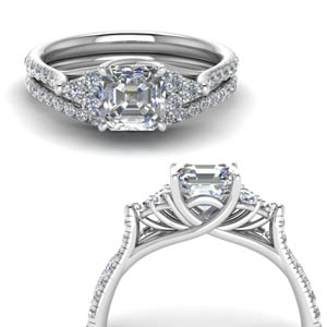 Asscher Cut Petite Cathedral Ring Set