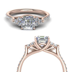 Asscher Cut Cathedral Diamond Ring