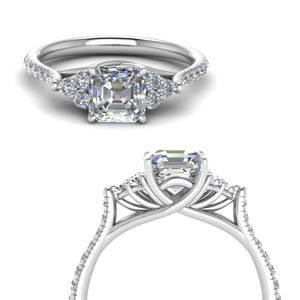 Asscher Cut Petite Cathedral Ring