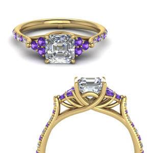 Purple Topaz Cathedral Diamond Ring