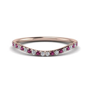 Pink Sapphire Contour Curved Band