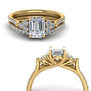 Emerald Cut Petite Ring Set