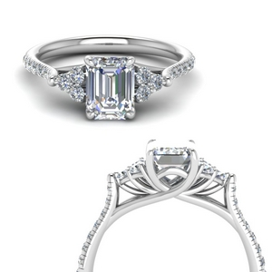 Emerald Cut Petite Cathedral Ring