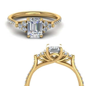 emerald cut petite cathedral diamond engagement ring in FD123457EMRANGLE3 NL YG