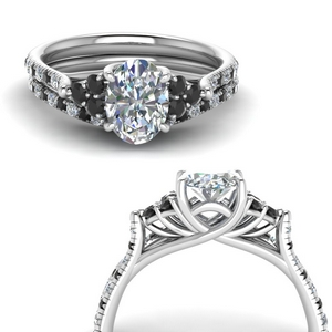 Platinum Black Diamond Ring Sets