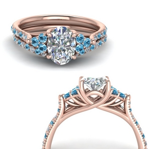 Blue Topaz Cathedral Ring Sets