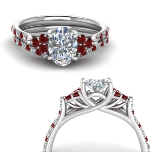 White Gold Ruby Accent Ring Sets