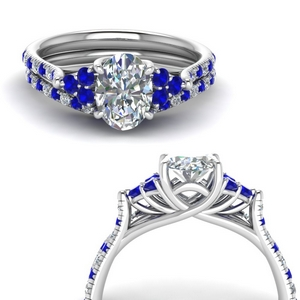 Oval Shaped Ring Set With Sapphire