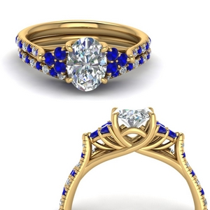 Cathedral Sapphire Bridal Set