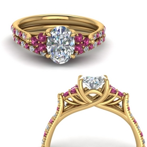Pink Sapphire Wedding Ring Sets