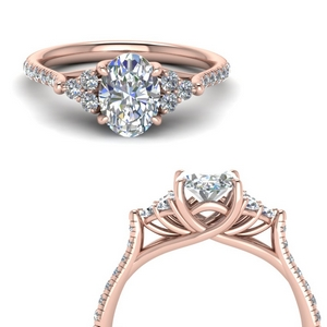 Petite Cathedral Oval Diamond Ring