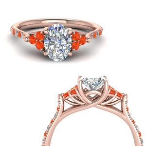 Orange Topaz Trellis Ring 3 Carat