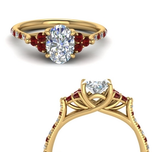 Trellis Diamond Ring With Ruby