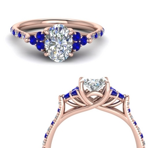 Oval Diamond Ring With Sapphire