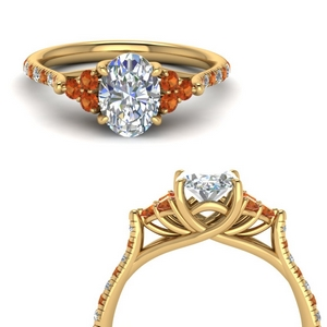 Oval Shaped Orange Sapphire Ring