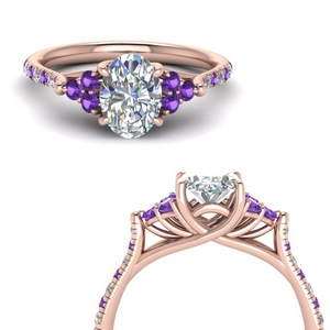 Oval Shaped Cathedral Diamond Ring