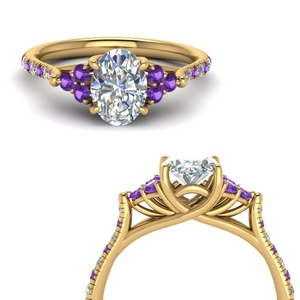 3 Carat Purple Topaz Pave Ring