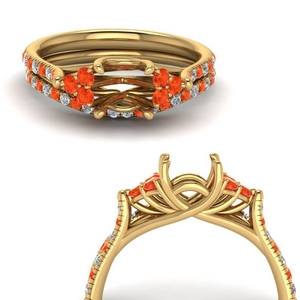 Semi Mount Orange Topaz Ring Set