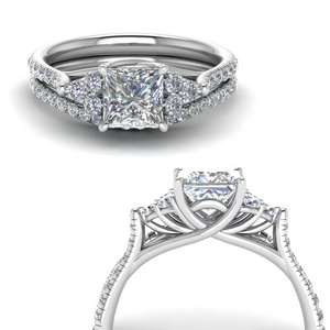 princess cut petite cathedral diamond wedding ring set in FD123457PRANGLE3 NL WG