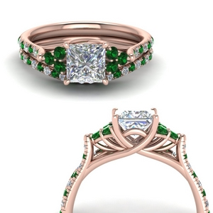 Cathedral Emerald Bridal Set