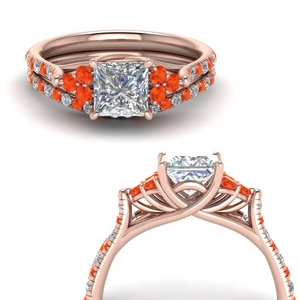 Rose Gold Bridal Ring Set