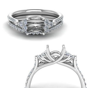 semi mount petite cathedral diamond wedding ring set in FD123457PRSMANGLE3 NL WG
