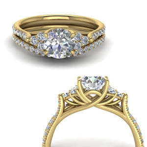 14K Gold Round Cut Diamond Ring Sets